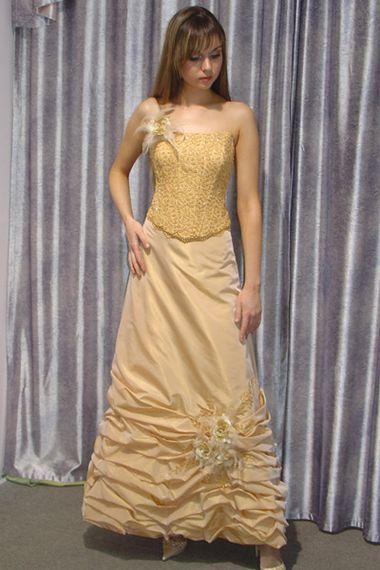 Свадебное платье золотое жёлтое
