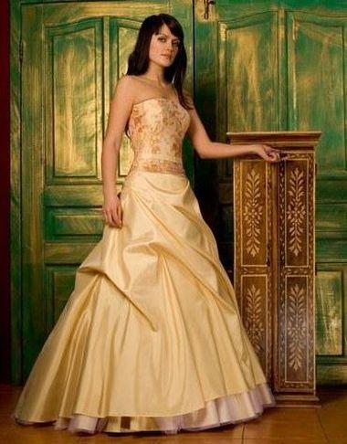 Жёлтое золотое свадебное платье