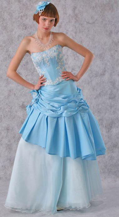 Синее / голубое свадебное платье.